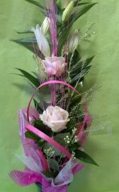 Náhľad - Kytica s ľaliou a a ružovými ružami