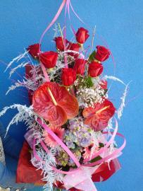 Náhľad - Veľká gratulačná kytica z červených ruží a antúrii