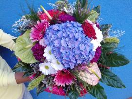Náhľad - Okrúhla veľká pestrofarebná gratulačná kytica