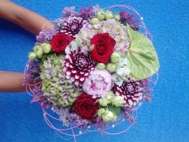 Náhľad - Okrúhla letná kytica s dáliami, ružami a hortenziami