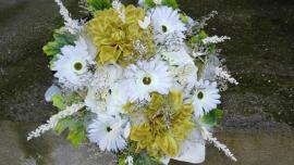Náhľad - Okrúhla spomienková kytica zo sušených a umelých kvetov