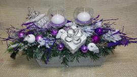 Náhľad - Podlhovastý aranžmán so sklenenými svietnikmi a balíčkami