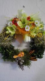 Náhľad - Venček s jarnou dekoráciou a oranžovým vtáčikom