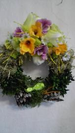 Náhľad - Venček s jarnou dekoráciou a zeleným vtáčikom