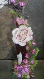 Náhľad - Ozdobená fľaša ružového vína s motívom ružových ruží