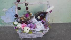 Náhľad - Darčekový kôš s vínom Pereg a Ferrero rocher