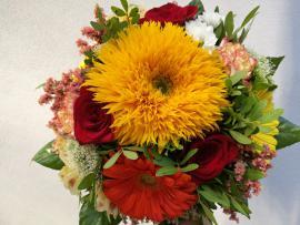 Náhľad - Okrúhla letná kytica so slnečnicami
