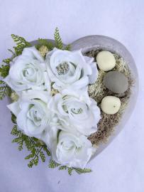 Náhľad - Keramické srdce s bielymi ružičkami a kamienkami